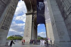 Arc de Triomphe, Paris. With French flag Stock Image