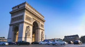 Arc de Triomphe in Paris and French flag stock video