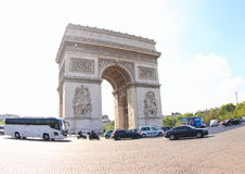 Arc de Triomphe Paris. The Arc de Triomphe de I'Etoile is one of the most famous monuments in Paris. It stands in the centre of the Palace Charles de Gaulle and Stock Photography