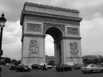 Arc de Triomphe Noire. Paris military arch memorial with traffic circling. Date 2012 Royalty Free Stock Photography