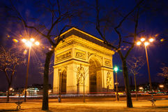 Arc de Triomphe. In Paris at night Stock Photo