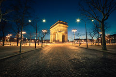 Arc de Triomphe Paris. By night Royalty Free Stock Images