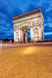 The Arc de Triomphe in Paris. At night Royalty Free Stock Photo
