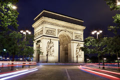 Arc de Triomphe in Paris at night Stock Image