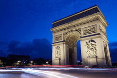 Arc de Triomphe in Paris at night. France Stock Image