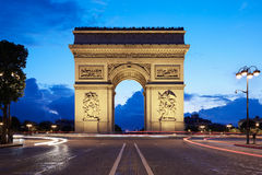 Arc de Triomphe in Paris at night. France Stock Photo