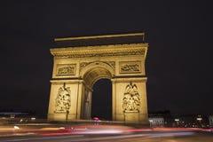 Arc de triomphe in Paris. Arc de triomphe at night in Paris, France Stock Image