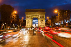 Arc de Triomphe in Paris at night. Paris, France - October 19, 2016: Arc de Triomphe at the Champs-Elysees in Paris at night. It is one of the most famous Stock Images