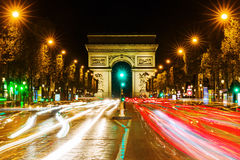 Arc de Triomphe in Paris at night. Paris, France - October 19, 2016: Arc de Triomphe at the Champs-Elysees in Paris at night. It is one of the most famous Royalty Free Stock Images