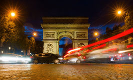 Arc de Triomphe in Paris at night. Paris, France - October 19, 2016: Arc de Triomphe at the Champs-Elysees in Paris at night. It is one of the most famous Royalty Free Stock Photo