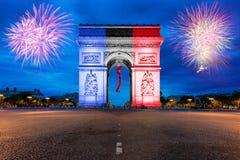 Arc de Triomphe Paris och Champs-Elysees i Frankrike Arkivfoton