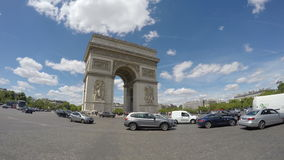 Arc de Triomphe, Paris,. Popular touristic attraction stock footage