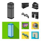 Arc de Triomphe in Paris, Reinforced bridge, cafe building, House in Scandinavian style. Architectural and building set. Collection icons in black, flat style Royalty Free Stock Photo