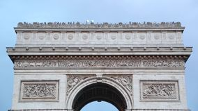 Arc de Triomphe in Paris roof top with tourists. France stock video footage