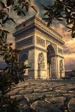 Paris city in september. Arc De Triomphe in Paris at sunset Stock Image