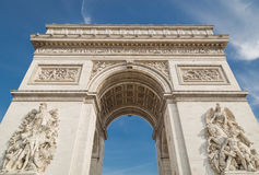Arc de Triomphe in Paris under sky with clouds Royalty Free Stock Photography