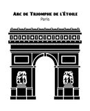 Arc de Triomphe in Paris vector black isolated Royalty Free Stock Photography