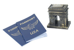 Arc de Triomphe and Passports. Path included Stock Photography