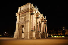 Arc de Triomphe at the Place du Carrousel. In Paris in the night. View from the corner Royalty Free Stock Photography