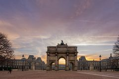 Arc de Triomphe at the Place du Carrousel in Paris. France  at sunrise Stock Photography
