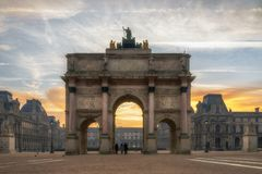 Arc de Triomphe at the Place du Carrousel in Paris. France  at sunrise Stock Images