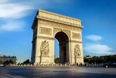 Arc de Triomphe. Road of Champs Elysee leading to Arc de Triomphe in Paris, France Royalty Free Stock Photography