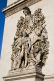 Arc de Triomphe - sculpture detail. Close up detail of La Paix de 1815, sculpture on the base of the Arc de Triomphe in Paris, France Stock Images
