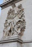 Arc de Triomphe Sculpture. Relief sculpture on the leg of the Arc de Triomphe in Paris, France Royalty Free Stock Photo