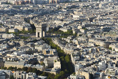 Arc de Triomphe seen from Eiffel Tower Stock Photo
