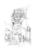 Arc de Triomphe skissar Arkivfoto