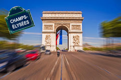 Arc de Triomphe with a street plate, Paris Royalty Free Stock Photography