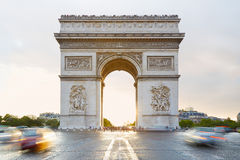 Arc de Triomphe, sunlight in Paris, France Royalty Free Stock Photo