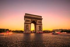Arc de Triomphe Sunset Στοκ Φωτογραφία