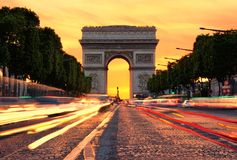 Arc de Triomphe at sunset Royalty Free Stock Images