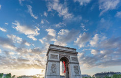 Arc de Triomphe at sunset Royalty Free Stock Photos