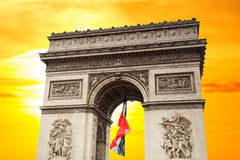 Arc de Triomphe. At sunset in Paris, France Royalty Free Stock Images