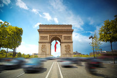 Arc de Triomphe. At sunset in Paris, France Royalty Free Stock Photo