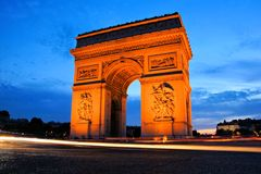 Arc de Triomphe at sunset, Paris, France Royalty Free Stock Images