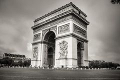 The side view of Arc de Triomphe closeup royalty free stock images