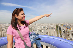 Arc de triomphe top , Paris. Apr 15 -2015 Paris: girl looking at the eiffel tower from the arc de triomphe top Stock Photography
