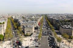 Arc de triomphe top , Paris. Apr 15 -2015 View on Paris from Arc de Triomphe Stock Photo