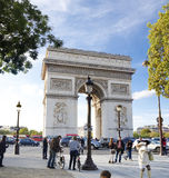 Arc de triomphe. Tourists around the arc de triomphe in paris Royalty Free Stock Image