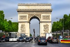 Arc de Triomphe Triumphal Arch at the Chaps Elysees, Paris, France. PARIS, FRANCE -24 may 2018 Arc de Triomphe Triumphal Arch at the center of Place Charles de stock image
