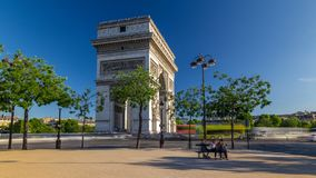 The Arc de Triomphe Triumphal Arch of the Star timelapse hyperlapse is one of the most famous monuments in Paris. Standing at the western end of the Champs stock video