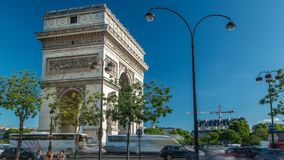 The Arc de Triomphe Triumphal Arch of the Star timelapse is one of the most famous monuments in Paris. Standing at the western end of the Champs-Elyseees stock video