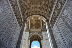 Arc de Triomphe underneath. Wide-angle shot of parisian Arc de Triomphe underneath Stock Photography