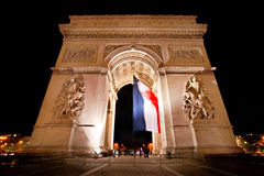Arc de Triomphe vid natt, Paris. Royaltyfria Foton