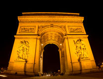 Arc de Triomphe. Wide angle view on Arc de Triomphe at night Stock Photo