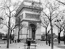 Arc de Triomphe in winter. Black and white Arc de Triomphe in winter Royalty Free Stock Photography