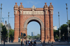 The Arc de Trionf Barcelona Spain. The Triumph Arch of Barcelona with its typical architecture style at Passeig de Lluis Companys, Catalunia, Spain Stock Photo
